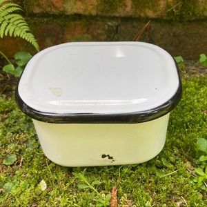 Vintage Enameled Metal Covered Square Container